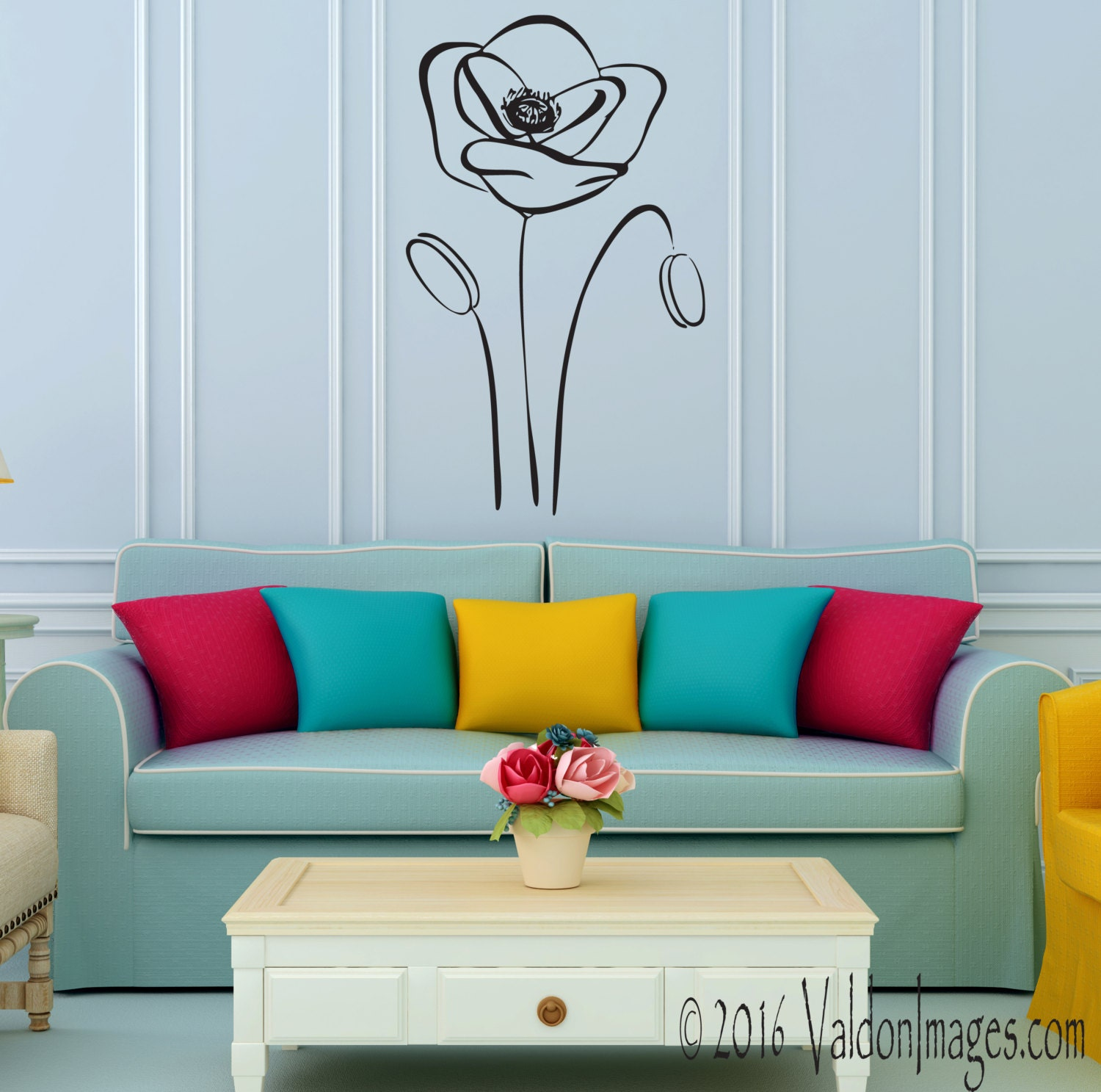 Poppy flower wall decal poppies wall decal flower wall