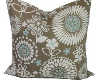 Brown pillow cover, Blue pillow, Decorative pillow, Throw pillow, Couch cushion, Floral pillow, 16x16, 18x18, 20x20, 22x22, 24x24, 26x26
