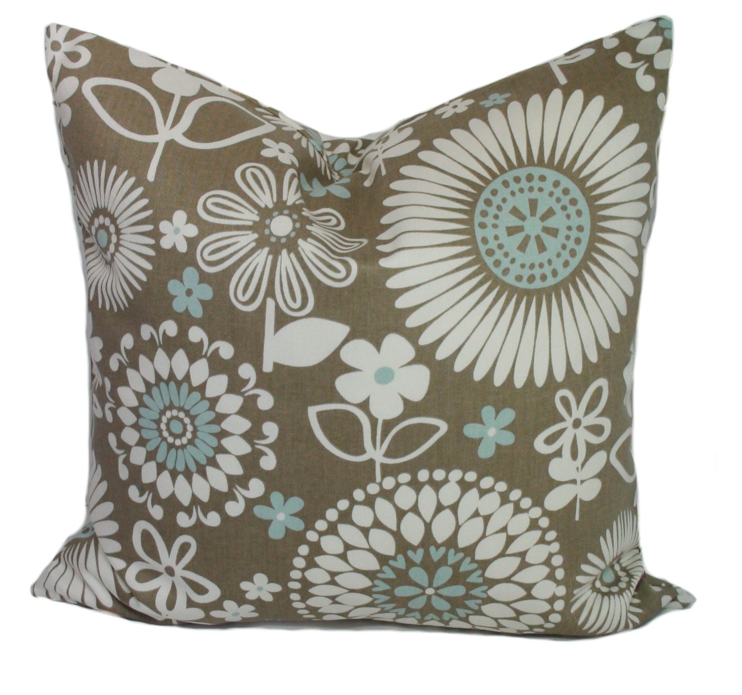 Brown Floral Throw Pillow : Brown pillow covers Blue pillow Floral pillows by PillowCorner