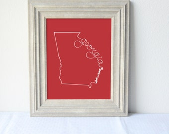 Printable Georgia State Art Print 8x10 Digital Wall Art Gift
