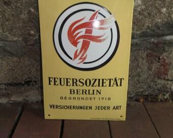 Vintage enamel Insurance Sign Feuersozietat Berlin Germany Advertising