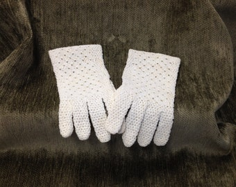 Vintage Hand Crochet Cotton Gloves