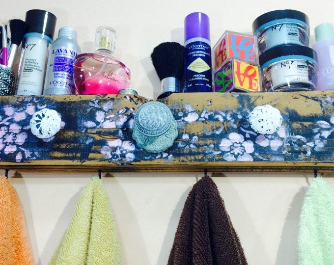 Towel holder /bathroom storage /bath towel hanger /decorative reclaimed wood art hanging wall rack organizer 4 hooks 5 knobs
