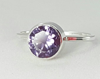 Purple Sapphire Sterling Silver Ring- 8mm