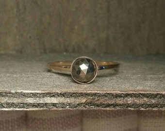 Natural Pyrite Gold Filled or Sterling Silver 6mm Ring