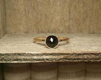 Natural Black Spinel Gold Filled or Sterling Silver 6mm Ring