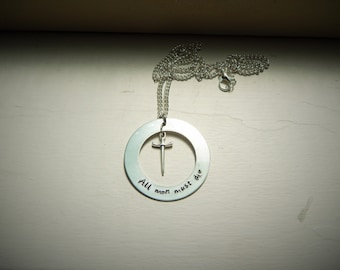 All men must die, hand stamped necklace
