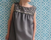 Girls Dark Silver A-line Dress, Girls Dresses, Boutique Dresses, Designer Dresses