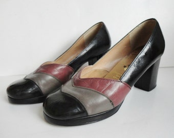 70s Vintage Leather Shoes // Black Gray Pink // Star // Size 37