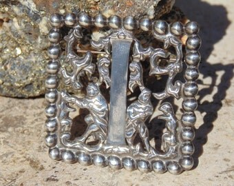 Fred Davis ~ Signed Mexican Silver Square Initial Capital I Pin / Brooch