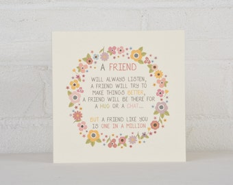 Friendship Card, Card for a Friend, Kindness Card, Friend in a million Card, Thank you Card for a Friend, Best Friend Card, Friend Card