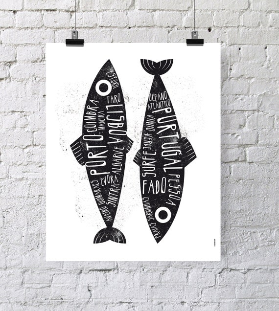 Portugal. Poster. Wall decor art. Illustration. Digital print. Sardine. Travel.