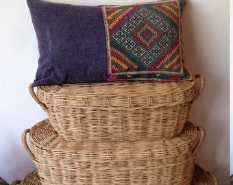 "Vintage Hilltribe Hand Stitched Hilltribe Ethnic Boho Cushion Cover 12"" x 20"""