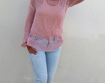 Blush pink sweater, summer loose knit, women knit sweater, pink sweater, summer jumper, hand knit pullover, pink pullover