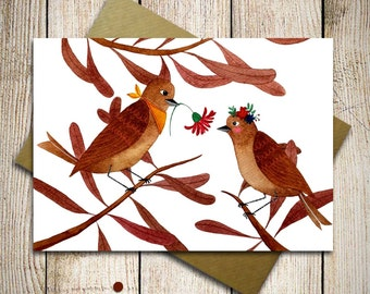 Wedding card, lovebirds anniversary card, valentines day card, be my valentine, card for her, engagment card, congratulation card, bird card