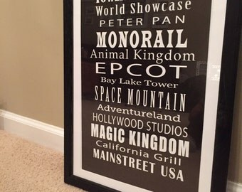 Walt Disney World Landmark Print (WDW, Orlando, Florida, Disneyworld, Disneyland)