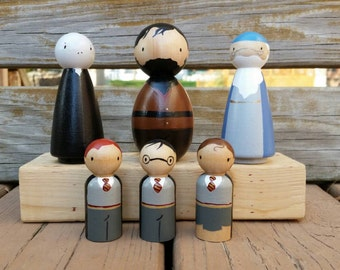 Harry Potter Inspired Peg Doll Set / Cake Toppers/ Collectibles / Stocking Stuffers