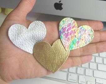 Heart Hair Clips, leather heart bows, baby heart bows, leather hair bows, gold heart bow, silver heart clip, rainbow clip, snap clips
