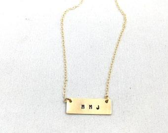 Initial Necklace, Initial Bracelet, Gold Bar, Custom Gold Bar