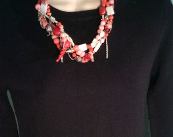 Coral, Hill Tribe Silver & Pearl Necklace. Braided, 21 in, Dripping Silver Chains, Peach, Pink, White- Free US Ship 199.00