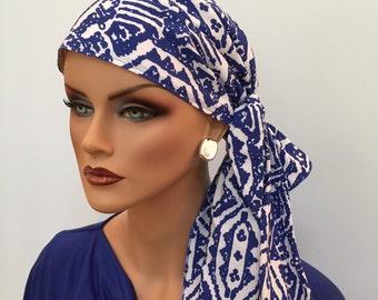 Jessica Pre-Tied Head Scarf, Women's Cancer Headwear, Chemo Scarf, Alopecia Hat, Head Wrap, Head Cover for Hair Loss - Blue Aztec