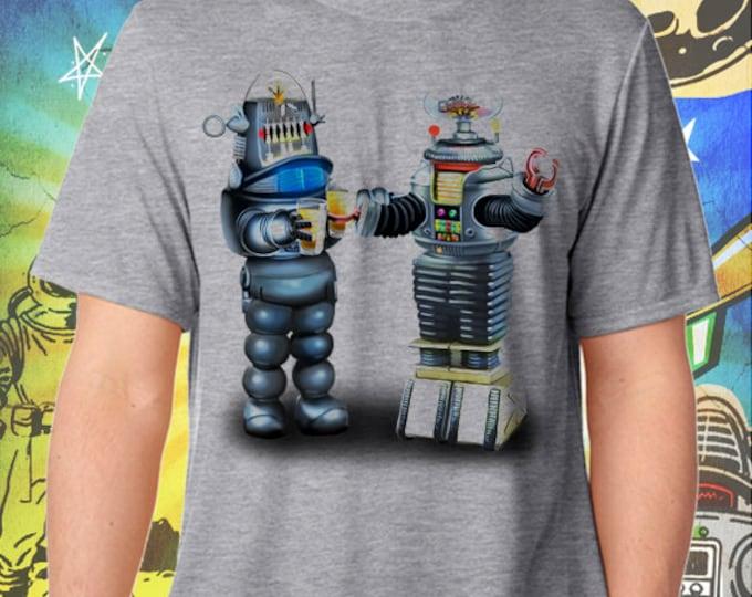 Lost in Space B9 Robot and Robbie the Robot Men's Gray Men's Tshirt