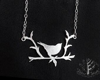 Sparrow on a branch silver pendant