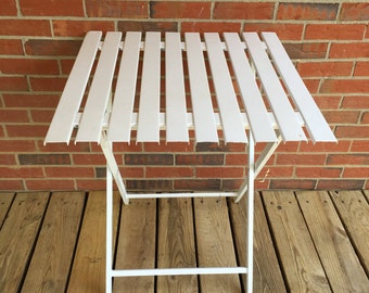 Vintage Folding Metal Patio Table White Paint Square Top