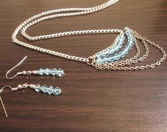 Aqua Beaded Wire Wrapped Jewelry Set