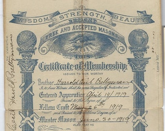 masonic certificate 1919 download