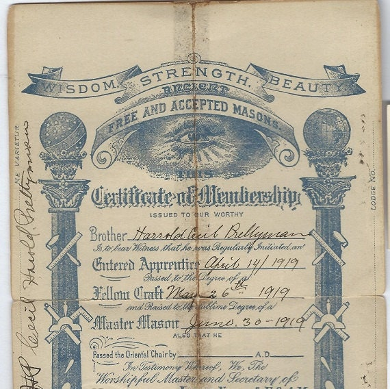 Masonic certificate 1919 download from ethelprettyman on for Masonic certificate template