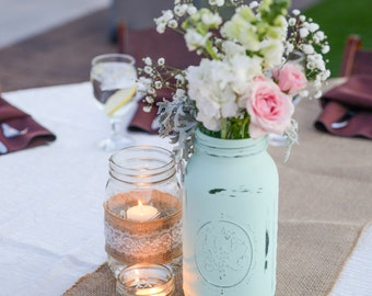 Mint Mason Jar, Wedding Centerpieces, Wedding Decor, Mason Jar Wedding  Centerpiece, Mint