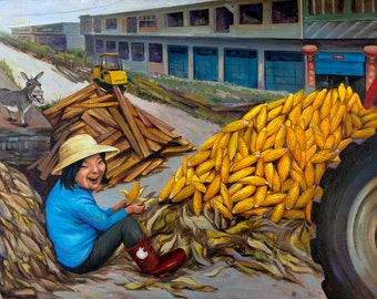 China Painting. Happiness Art. Corn Art. Nanyang China.