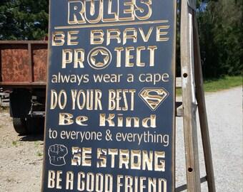 "Custom Carved Wooden Sign - ""SUPERHERO RULES"""