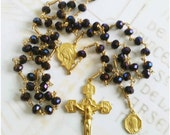 Rosary - Purple Velvet Chinese Crystal Saint Mary Magdalene Rosary - 18K Gold Vermeil Crucifix & Center
