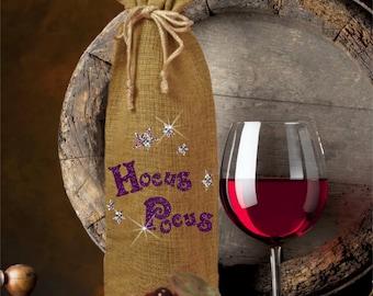 Hocus Pocus Halloween Wine Bottle Gift Bag/Hocus Pocus Burlap Bottle Bag/Wine Gift/Funny Glitter Halloween Burlap Wine Bottle Gift Bag