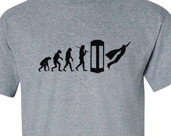 Superman Shirt/Superhero T-Shirt/Evolution Of The Superhero T-Shirt/Theory Of Evolution Shirt/Comicon T-Shirt/Cosplay Superhero Shirt