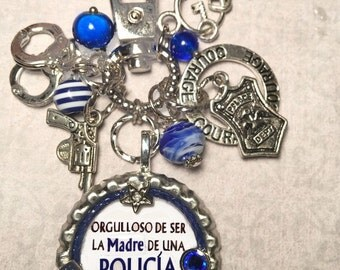 Proud Police Officer's Mom KeyChain / PurseCharm  (Spanish)