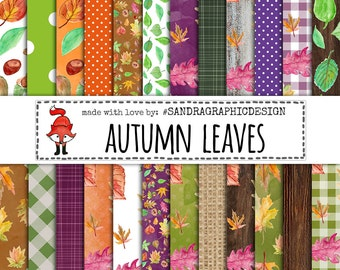 "Autumn digital paper: ""AUTUMN LEAVES"", fall patterns, green digital papers, nature backgrounds, fall digital paper (1262)"