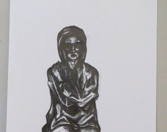 Hooded Man Sketch ORIGINAL ARTWORK