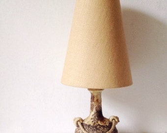 1970s pottery lamp with hessian shade