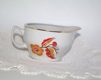 Big Milk Jug Vintage White Brown Autumn  Floral Pitcher Flowers Polish Ceramics Bohemian Polish folk Polish pottery Wloclawek Cottage chic