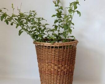 Petit panier en osier fait main vintage cache pot - Panier decoratif osier ...