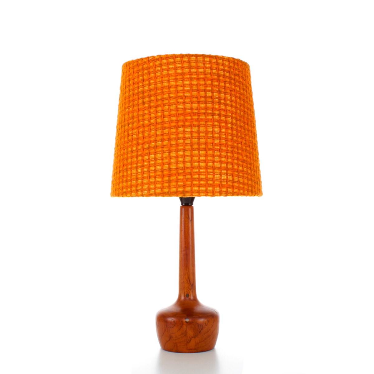 Teak Table Lamp With Orange Shade 1960s Danish Mid Century