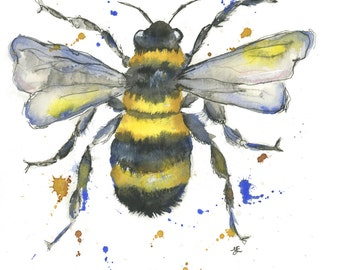 Bee watercolour painting print, bumble bee, Puddle Paints