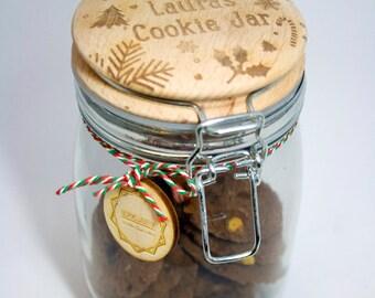 Cookie Jar Personalised Glass Storage Jar - Engraved Storage Jar, cookie jar, storage jar, biscuit jar