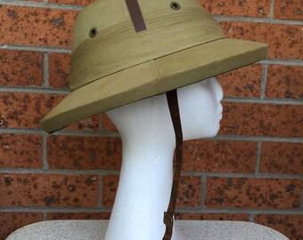 "1950's ""Bombay Bowler"" genuine pith helmet. Size 7.5"