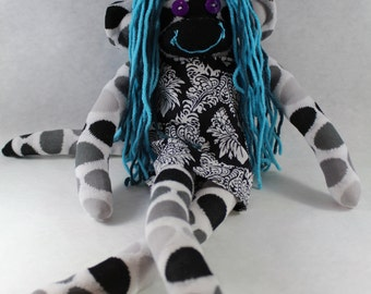 Sock Monkey / Polka Dot / Black and White / Damask Dress / Blue Hair / Nursery Decor / Unique Gift / Baby Shower Gift / Gifts for Her