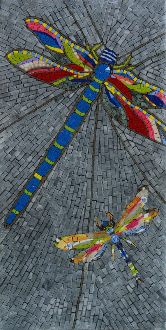 Mosaic patterns dragonflies for Dragonfly mural