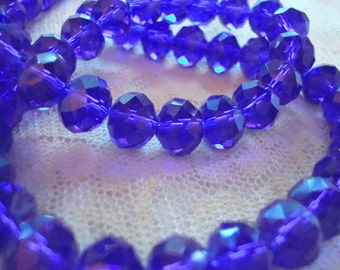 Big 10x7mm Cobalt Blue, Hand Cut Rondelles. Beautiful Translucent Deep Cobalt Glass. Un-Plated. Half Strands. 24pcs  ~USPS Ship Rates/Oregon